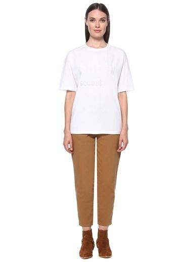 NetWork Kadın 1077981 Basic Fit Pul İşlemeli T-shirt Beyaz